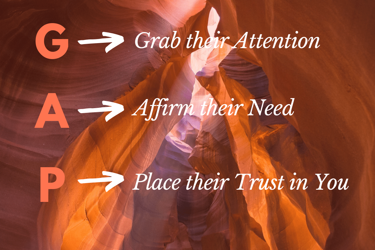 GAP Method, Grab attention, Affirm need, and Place trust