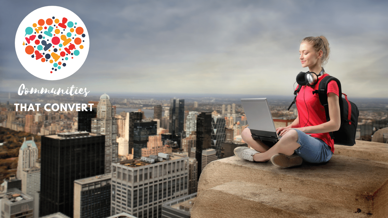Woman at top of building confident about her tech for live stream videoi