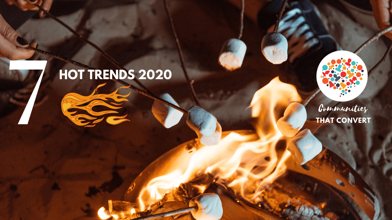 Roasting marshmallows over a fire to symbolize trends in community building for 2020