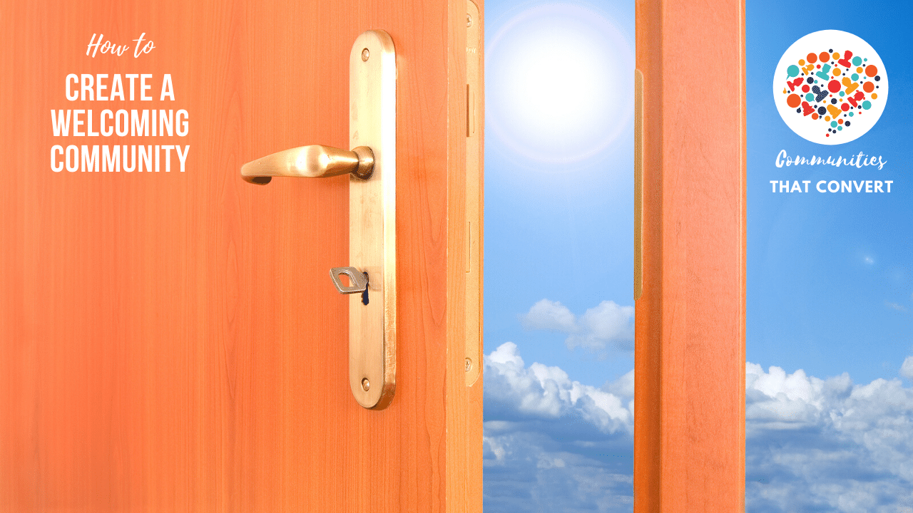 Door opening to blue skies of a welcoming community