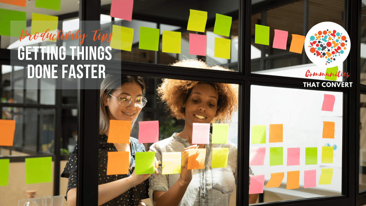 Women use post it notes to get stuff done faster